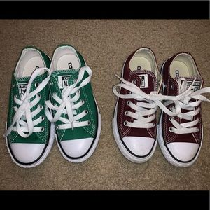 Two pairs of kids converse green and maroon